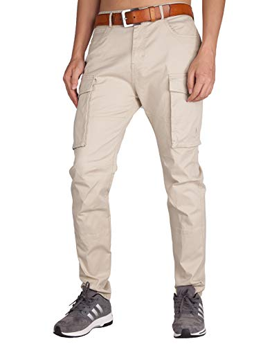ITALY MORN Men's Chino Cargo Khaki Casual Pants 32 Cream Khaki ()