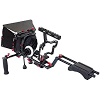 FILMCITY DSLM Camera Cage Shoulder Rig for Sony A7/ A7R/ A7S/ A7SII/ A7RII/ A6300/ A6000/ A5100/ NEX-7/ NEX-6, Panasonic GH4/GH3, Canon EOS M5 M3 with Follow Focus and Matte Box (FC-MSRB)