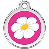 Red Dingo Personalized Daisy Pet ID Dog Tag (Small Hot Pink)