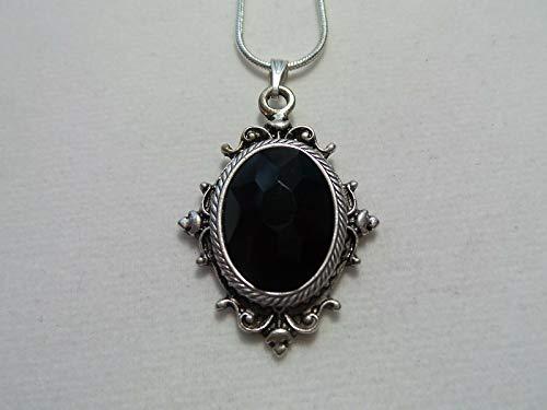 New 0.25' Pendant - Vintage Black Czech Faceted Glass Necklace 20'' Chain LH-582