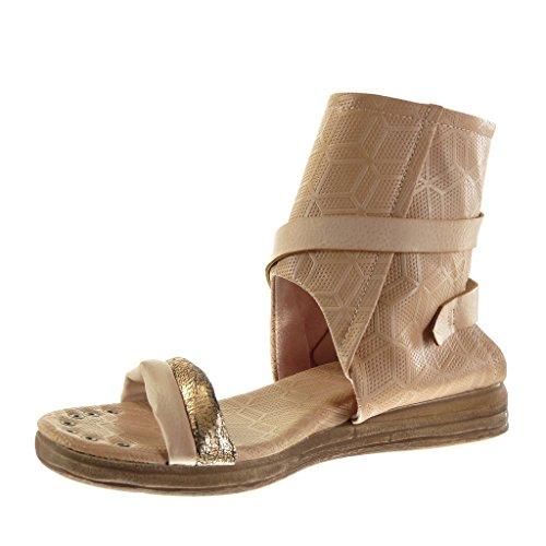 Angkorly - Chaussure Mode Sandale Bottine ouverte femme perforée lanière boucle Talon plat 4 CM - Rose