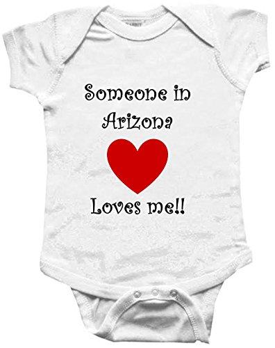 SOMEONE IN ARIZONA LOVES ME - ARIZONA BABY - State-series - White Baby One Piece Bodysuit - size Small (6-12M)