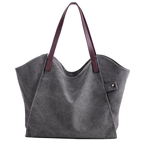 Sanxiner Women's Casual Canvas Tote Bags Shoulder Handbag Travel Bag (Gray) Trendy Canvas Tote