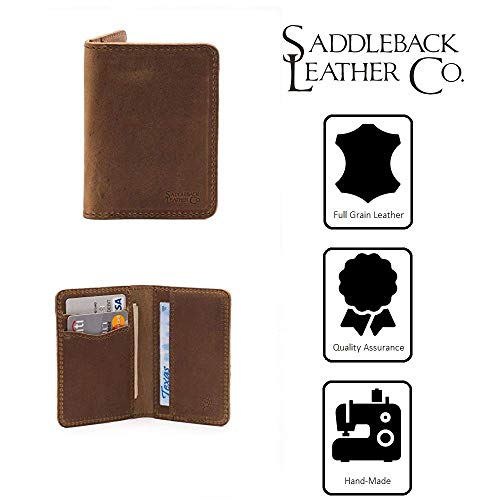 Saddleback Leather Co. Thin Full Grain Leather Slim Bifold Wallet for Men RFID Shielded Includes 100 Year Warranty