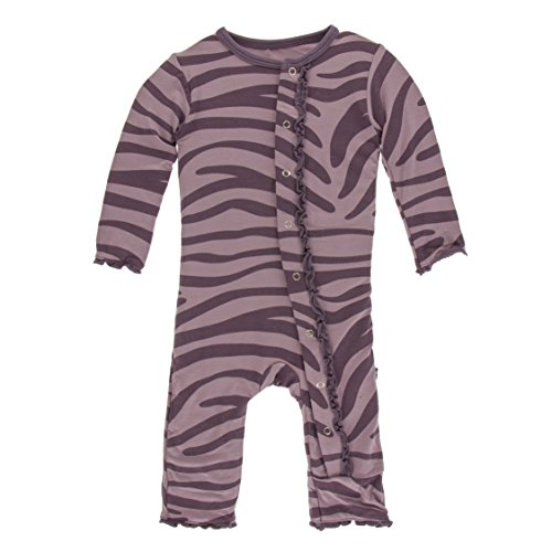 Kickee Pants Little Girls Print Muffin Ruffle Coverall with Snaps - Elderberry Zebra Print, 0-3 Months ()