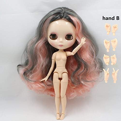 DORA⊕BRS氷ヌード工場ブライス人形シリーズ No. BL1010/9016 ピンクミックスグレー髪白スキン共同体ネオ