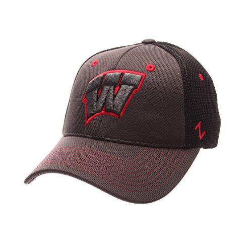 NCAA Wisconsin Badgers Men's Ultra Flex Hat, Charcoal/Black, (Badger Hat)