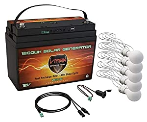 VMAX VSG12-100 Portable Solar Rechargeable Battery Generator Kit: 1,300Wh 12V 100AH AGM Battery Solar Battery Backup w 5 LED Lights Solar Controller W/ MC4 Cable USB Out