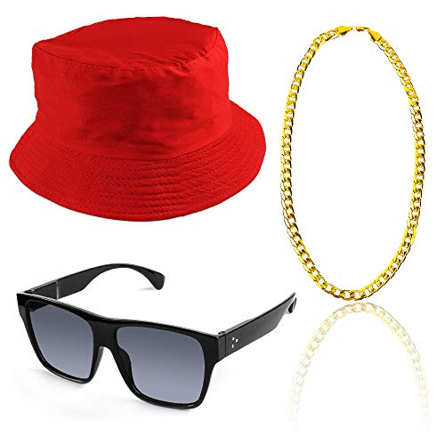 Beelittle 80s/90s Hip Hop Costume Kit Old Style Cool Rapper Outfits - Bucket Hat Oversized Black Sunglasses Gold Plated Chain ()