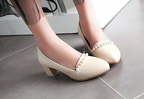 MissSaSa Damen Chunky heel Low cut Pointed Toe Pumps mit künstlich Perlen Aprikosen