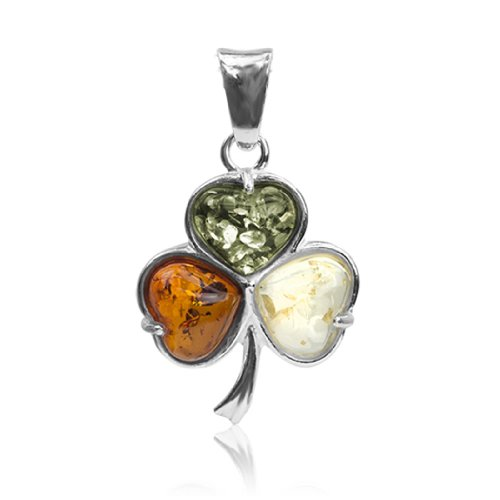 Sterling Silver Multicolor Amber Shamrock Clover Leaf Heart Pendant