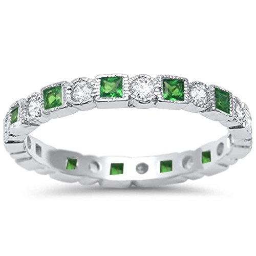 2.5mm Bezel Set Full Eternity Band Ring Alternating Round Simulated Emerald 925 Sterling Silver, Size-8 2.5 Mm Bezel