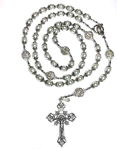 Beautiful White Glass Pearl Capped Beaded Wedding Bridal Gift Cross Prayer Catholic Rosary – Perfect for a Bridal Bouquet, Communion Gift, Baptism and More