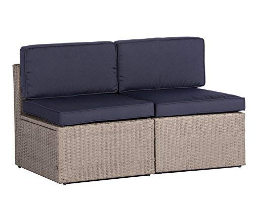 (Solaura Outdoor Furniture Sectional Sofa Conversation Set 2 Additional Chairs Gray Wicker with Nautical Navy Blue Cushions)