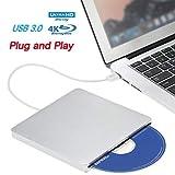 Blu ray Drive External DVD Drive,VikTck USB3.0 Hard DVD/CD Burner/Writer,3D 4K 6X Blu-Ray Disc Playback, Slim & Super-Fast Windows, Mac OS Laptop, PC, Computer (Silver)