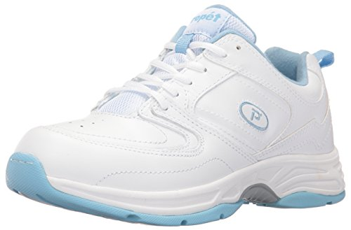 Eden Shoes (Propet Women's Eden Walking Shoe, White/Powder Blue, 8.5 M US)