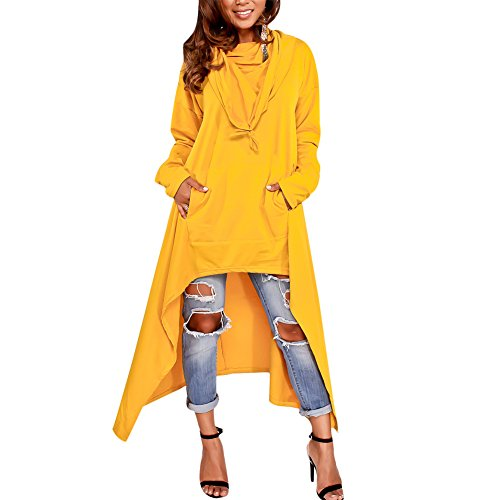 Women's Pullover Hoodie Long Sleeve Asymmetric Hem Loose Sweatshirt Tunic Dress with Pockets Yellow M