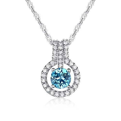 (Women's Jewerly Natural Swiss-blue Topaz Gemstone Round Shape with 925 Sterling Silver Pendant Necklace,18