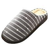 NUWFOR Men Warm Gingham Plush Soft Slippers IndoorsAnti-Slip Floor Bedroom Shoes(Gray,10.5-12 M US)