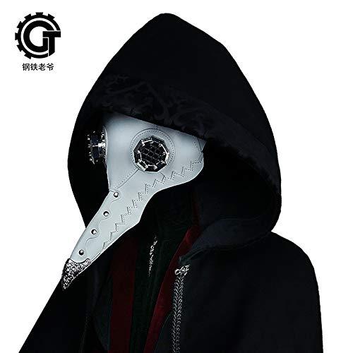 Steel Master Halloween Costume Props Plague Doctor Stempunk Long Nose Beak Punk Mask with Goggles -