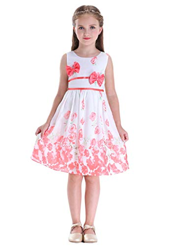 (Bow Dream Party Double Bow Tie Sundress Girls Dress Rose Flower Coral 6)