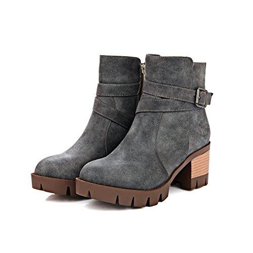 AdeeSu Ladies Chunky Heels Zipper Fashion Cone-Shape Heel Imitated Leather Boots Gray p6zsS202e