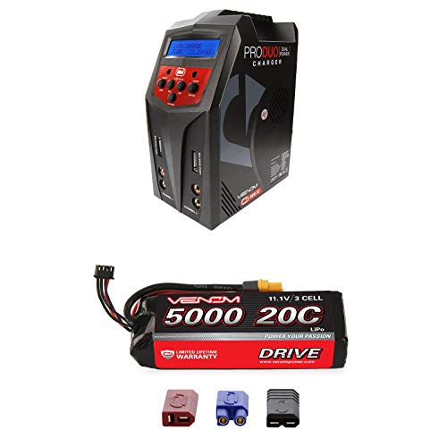 (Venom 20C 3S 5000mAh 11.1V LiPo Battery with Universal Plug System and Venom Pro Duo 80W X2 Dual AC/DC 7A LiPo & NiMH RC Battery Balance Charger Combo)