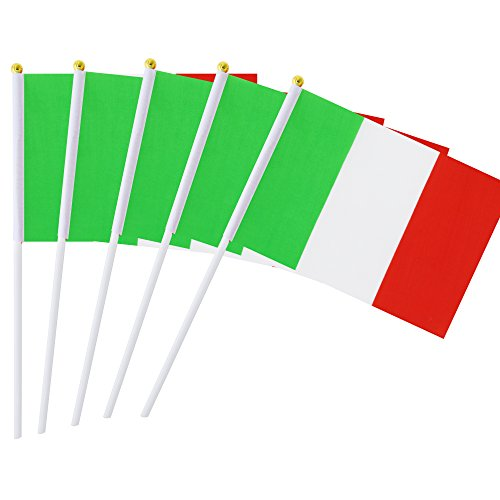 Kind Girl 25 Pack Hand Held Small Mini Flag Italy Flag Italian Flag Stick Flag Round Top National Country Flags,Party Decorations Supplies for Parades,World Cup,Festival Events,International -