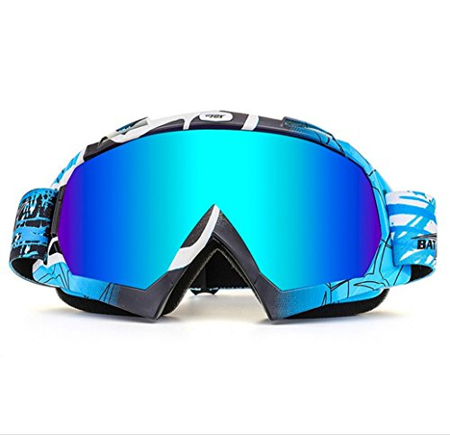 Wonzone Ski Goggles, Snow Skiing Snowboarding Motocross Anti-Fog Goggles Dustproof Scratch-Resistant Bendable Unisex Eyewear Goggles (Blue)