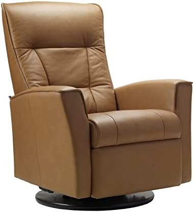 Fjords Ulstein Swivel Relaxer Recliner Norwegian Ergonomic Scandinavian Lounge Power Reclining Chair Nordic Line Cappuccino Genuine Leather by Hjellegjerde
