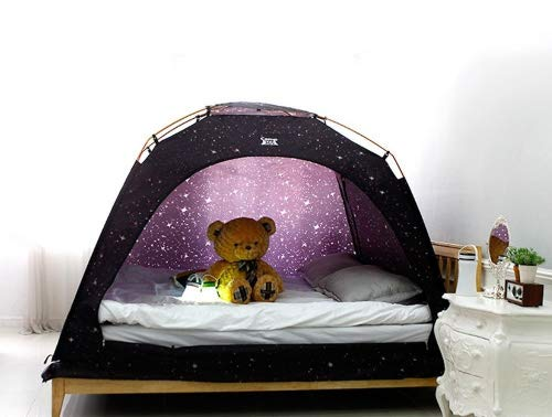 CAMP 365 Childs Indoor Privacy and Play Tent on Bed Sleep Cozy in Drafty Room (Double, Starlight)