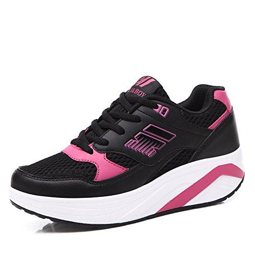Enllerviid Dames Mesh Vorm Ups Fashion Sneakers Platform Wiggen Sport Fitness Work-out Schoenen 966 Zwart