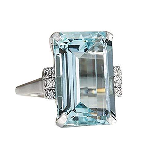 Aunimeifly Women Vintage 925 Silver Aquamarine Gemstone Ring Wedding Jewelry Engagement -