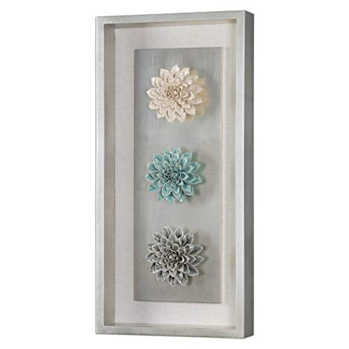 (Uttermost 14553 Florenza Shadow Box Ceramic Flowers Framed Wall Art)