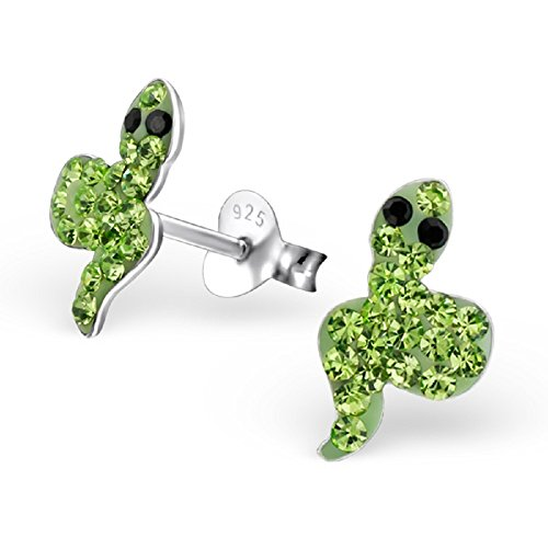 Snake w/ Peridot Crystal Stud Earrings 22277 ()