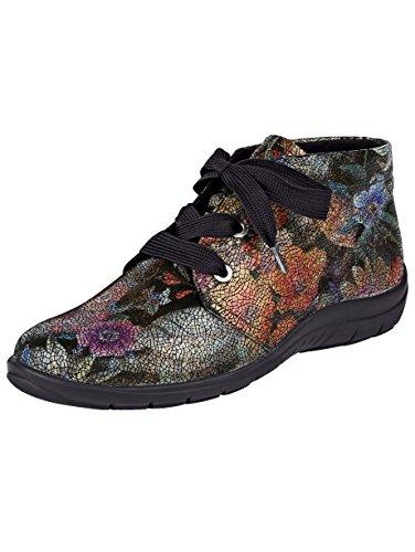 Naturläufer Schnürstiefelette schwarz floral LjcWK