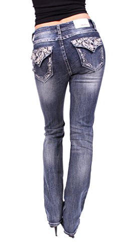 Print Rhinestone Floral (Grace in LA Women Boot Cut Jeans with Silver Floral Print and Rhinestones 28 Medium Denim)