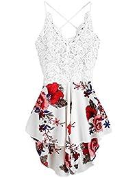 Women's Boho Crochet V Neck Halter Backless Floral Lace...