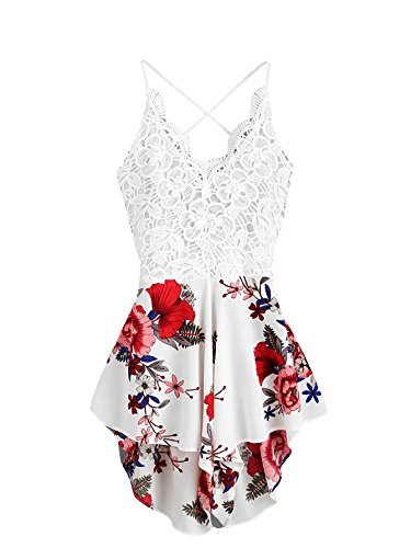 SheIn Women's Boho Crochet V Neck Halter Backless Floral Lace Romper Jumpsuit Medium White]()
