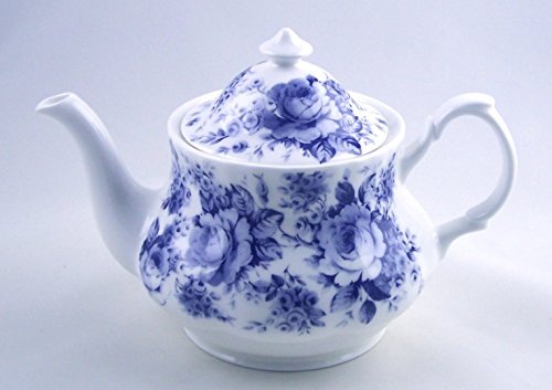Fine English Bone China Teapot - Roy Kirkham, England - English Blue Rose Chintz ()
