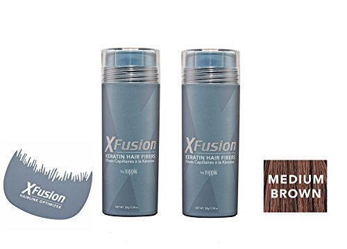 Xfusion Keratin Hair Fibers,Two Pack Value 2 x 28 gr / 0.98 oz MEDIUM BROWN / FREE Hairline Optimizer ($8.00 Value) by XFusion