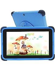 Barnplatta 7-tums Android 10-surfplattor för barn, 32 GB ROM IPS HD-skärm Småbarnstablett med WiFi-dubbla kameror Barnplatta, föräldrakontrollinlärningsplatta med barnsäkert fodral och stativ (blå)