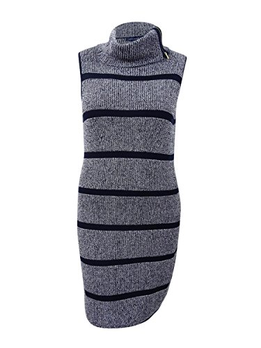 Tommy Hilfiger Women's Striped Cowl-Neck Sweater Dress (XL, Navy/White)