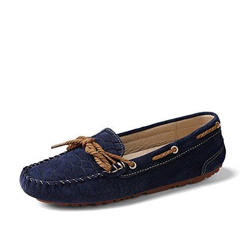 VogueZone009 Damen Ziehen auf Artifizielles Schweinsleder Ohne Absatz Rein Flache Schuhe Blau