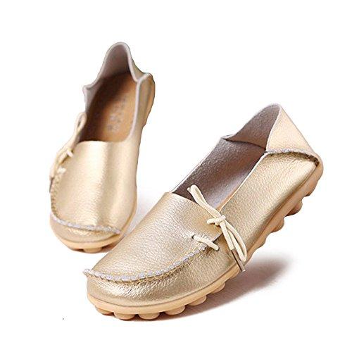 Planos Calzado YFF Calzado Mujeres de Las Encaje Cuero Femenino Zapatos hasta auténtico Casual Gold wqwBCFxa