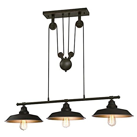 Westinghouse Three-Light Indoor Island Pulley Pendant Poleas, Bronce Aceitado, Lámpara de techo colgante con 3 luces