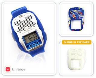 OnGuard Kids Digital Watch with Safety Alarm & Interchangeable Faceplates (Blue)