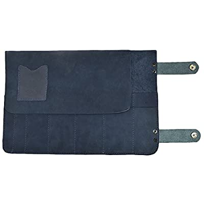 Snap Tool Roll / Barber Roll Handmade by Hide & Drink :: Blue Suede