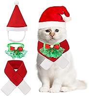 Christmas Pet Bow Tie Collar Santa Claus Hat Scarf Suit for Cats Puppy Dgos, Pet Xmas Costumes Party Fancy Dre