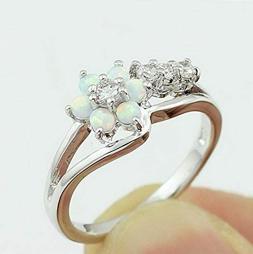 Endicot White Fire Opal Flower Daisy 925 Silver Ring Women Wedding Prom Gift Size 6-10 | Model RNG - 17830 | 9 ()